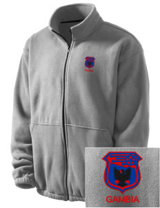 Gambia Soccer Embroidered Men's Fleece Jacket