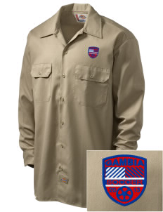 Gambia Soccer Embroidered Dickies Men's Long-Sleeve Workshirt