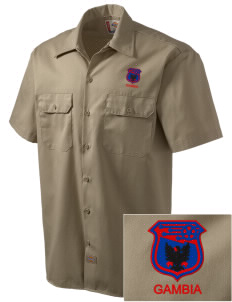 Gambia Soccer Embroidered Dickies Men's Short-Sleeve Workshirt
