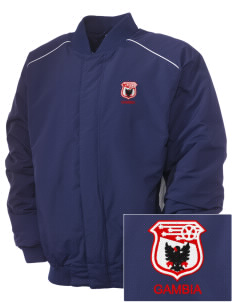 Gambia Soccer Embroidered Russell Men's Baseball Jacket