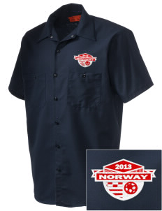 Norway Soccer Embroidered Men's Cornerstone Industrial Short Sleeve Work Shirt