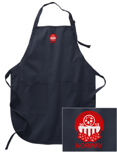 Norway Soccer Embroidered Full-Length Apron with Pockets