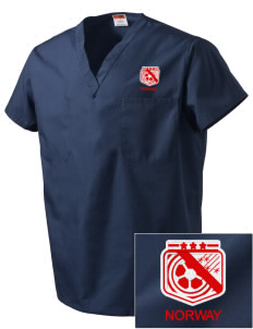 Norway Soccer Embroidered V-Neck Scrub Top