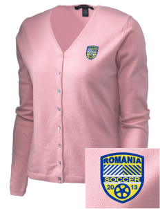 Romania Soccer Embroidered Women's Stretch Cardigan Sweater