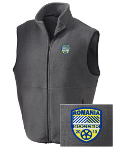 Romania Soccer Embroidered Men's Fleece Vest