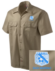 San Marino Soccer Embroidered Dickies Men's Short-Sleeve Workshirt