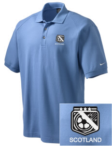 Scotland Soccer Embroidered Nike Men's Pique Knit Golf Polo