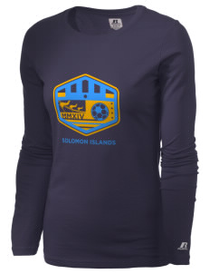 Solomon Islands Soccer  Russell Women's Long Sleeve Campus T-Shirt