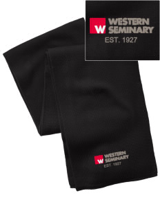 Western Seminary Est. 1927  Embroidered Knitted Scarf