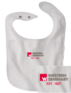Western Seminary Est. 1927 Embroidered Baby Snap Terry Bib