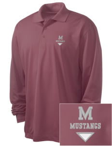 Marshall Middle School Mustangs Embroidered Men's Long Sleeve Micropique Sport-Wick Sport Shirt