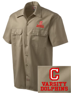 Chavez Elementary School Dolphins Embroidered Dickies Men's Short-Sleeve Workshirt