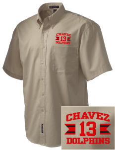 Chavez Elementary School Dolphins Embroidered Men's Easy Care Shirt