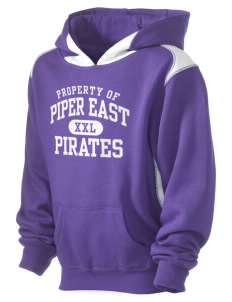 Piper East Elementary School Pirates Kid's Pullover Hooded Sweatshirt with Contrast Color