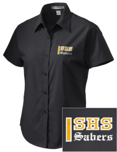 Souhegan High School Sabers Embroidered Women's Short Sleeve Easy Care, Soil Resistant Shirt