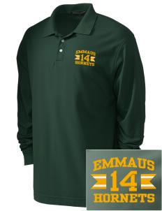 Emmaus High School Hornets Embroidered Men's Pima Pique Long-Sleeve Polo
