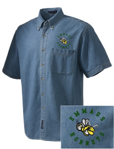 Emmaus High School Hornets  Embroidered Men's Denim Short Sleeve