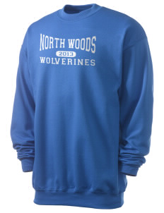 North Woods Elementary School Wolverines Men's 7.8 oz Lightweight Crewneck Sweatshirt