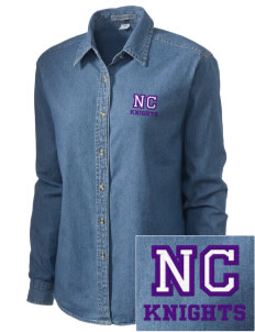 North Cedar Middle School Knights Embroidered Women's Denim Long Sleeve