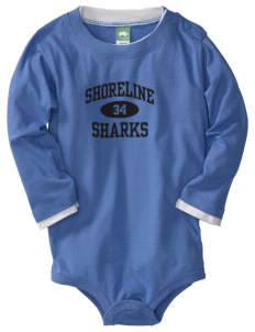 Shoreline Middle School Sharks  Baby Long Sleeve 1-Piece with Shoulder Snaps