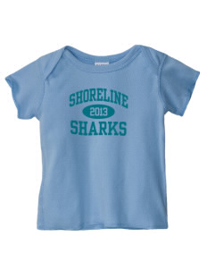 Shoreline Middle School Sharks  Baby Lap Shoulder T-Shirt