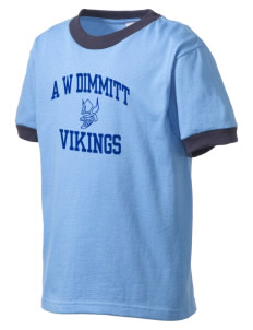 A W Dimmitt Middle School Vikings Kid's Ringer T-Shirt