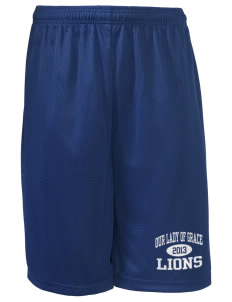 "Our Lady Of Grace School Lions Long Mesh Shorts, 9"" Inseam"