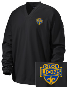 Our Lady Of Lourdes School Lions Embroidered Men's V-Neck Raglan Wind Shirt