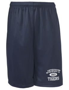 "Jesuit High School Tigers Long Mesh Shorts, 9"" Inseam"