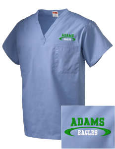 Adams Elementary School Eagles Embroidered V-Neck Scrub Top