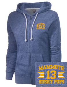 Mammoth Elementary School Husky Pups Embroidered Women's Marled Full-Zip Hooded Sweatshirt