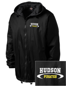 Hudson Community School Pirates Embroidered Dickies Men's Fleece-Lined Hooded Jacket