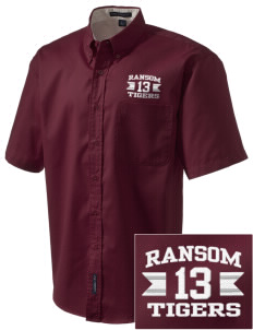 Ransom Middle School Tigers Embroidered Men's Easy Care Shirt