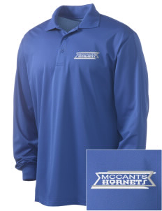 McCants Middle School Hornets Embroidered Men's Long Sleeve Micropique Sport-Wick Sport Shirt