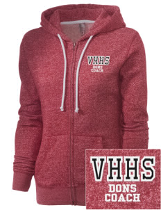 Verdugo Hills High School Dons Embroidered Women's Marled Full-Zip Hooded Sweatshirt