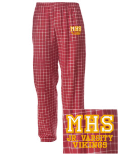 Mills High School Vikings Embroidered Men's Button-Fly Collegiate Flannel Pant