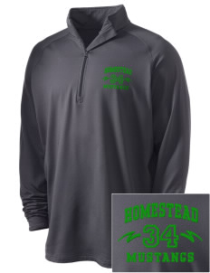 Homestead High School Mustangs Embroidered Men's Stretched Half Zip Pullover