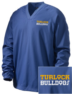 Turlock High School Bulldogs Embroidered Men's V-Neck Raglan Wind Shirt