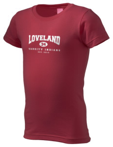 Loveland High School Indians  Girl's Fine Jersey Longer Length T-Shirt