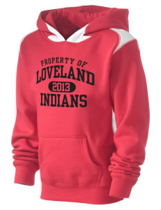 Loveland High School Indians Kid's Pullover Hooded Sweatshirt with Contrast Color