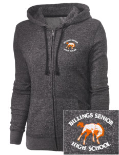 Billings Senior High School Broncs Embroidered Women's Marled Full-Zip Hooded Sweatshirt
