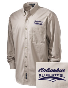 Christopher Columbus High School Blue Steel Embroidered Tall Men's Twill Shirt