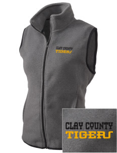 Clay County High School Tigers Embroidered Women's Fleece Vest