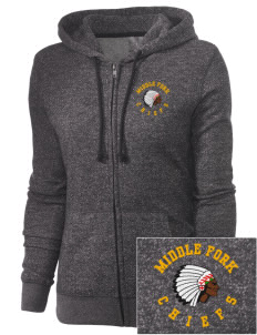 Middle Fork Elementary School Chiefs Embroidered Women's Marled Full-Zip Hooded Sweatshirt