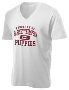 Harriet Thompson Elementary School Puppies Alternative Men's 3.7 oz Basic V-Neck T-Shirt