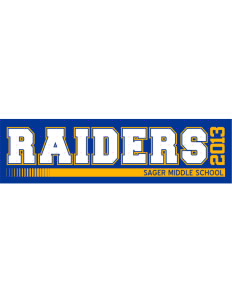 "Sager Middle School Raiders Bumper Sticker 11"" x 3"""