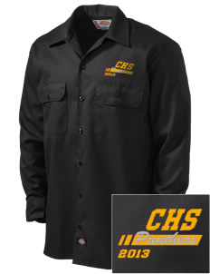 Cusick School Panthers Embroidered Dickies Men's Long-Sleeve Workshirt