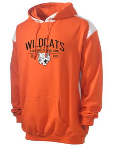 Klamath River Elementary School Wildcats Men's Pullover Hooded Sweatshirt with Contrast Color