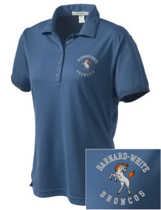 Barnard-White Middle School Broncos  Embroidered Women's Bamboo Charcoal Birdseye Jacquard Polo