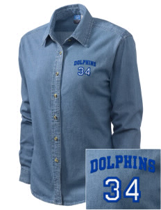 Bayview Elementary School Dolphins Embroidered Women's Long-Sleeve Denim Shirt